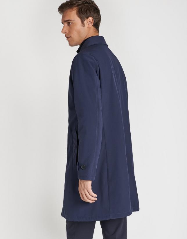 Gabardina cuello camisero azul marino