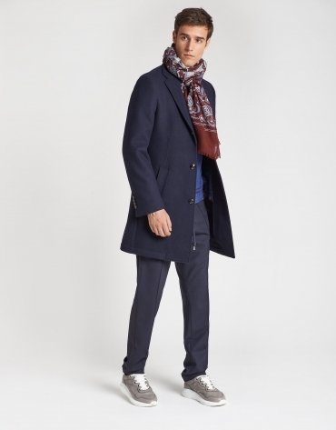 Navy blue checked double-faced coat