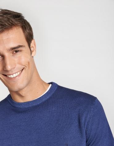 Jersey cuello caja lana tintada azul medio