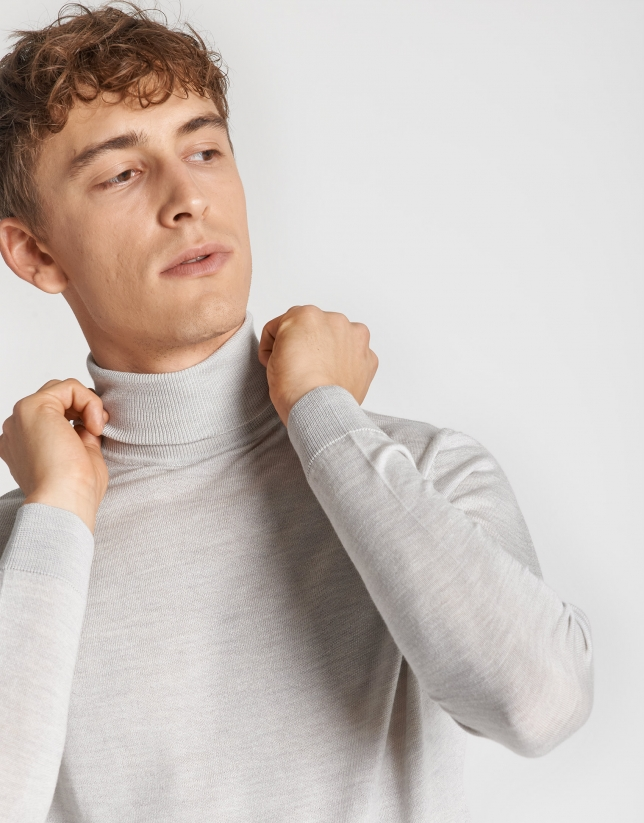 Jersey cuello cisne lana/seda gris