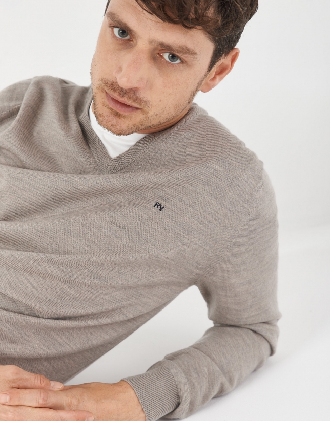 Tan sweater with V-neck