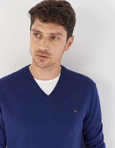 Deep blue sweater with V-neck