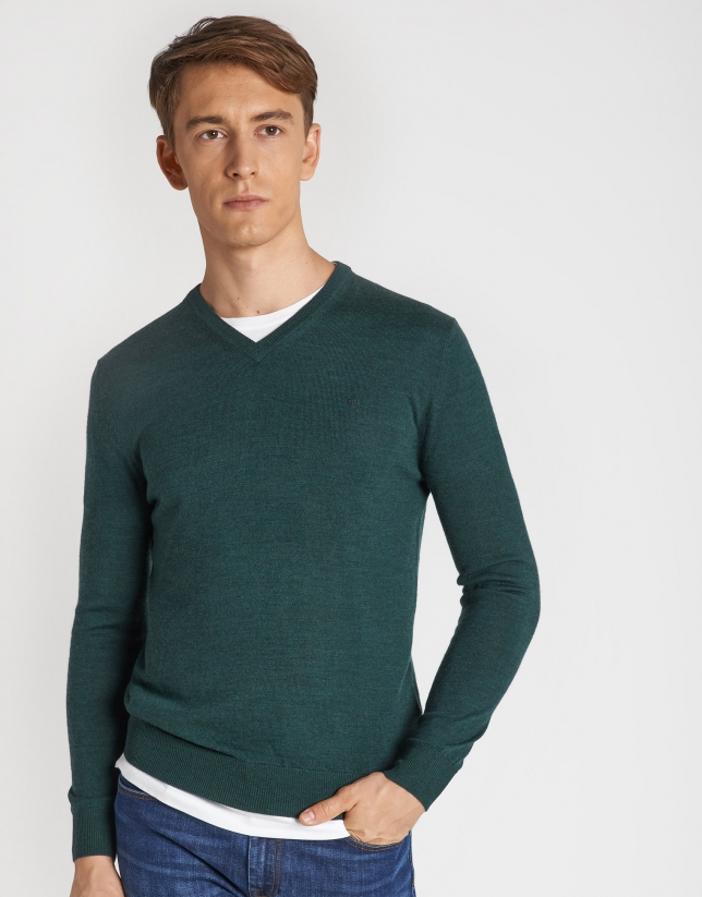 Green sweater with V-neck