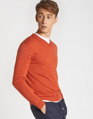 Orange sweater with V-neck