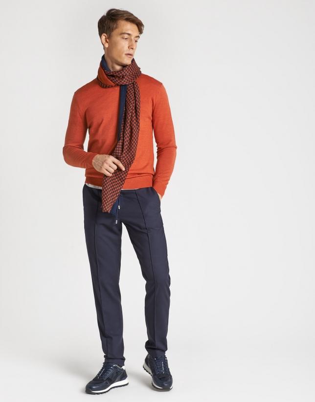 Orange sweater with V-neck