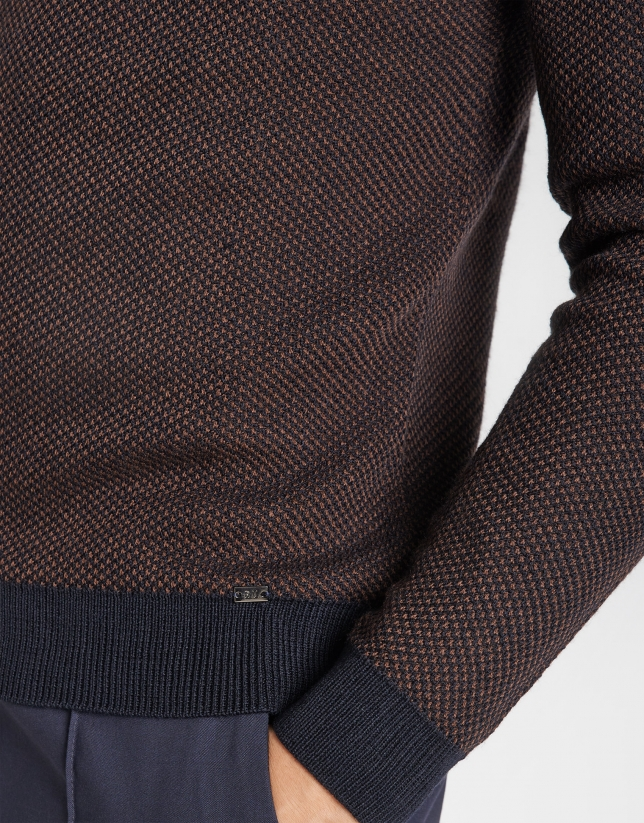 Navy blue and tan sweater