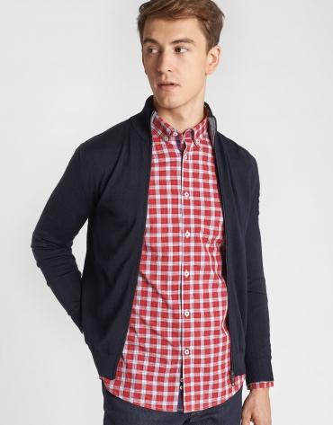 Navy blue knit jacket with zipper