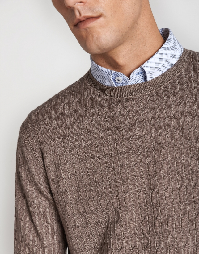 Dyed tan sweater with cable-stitching