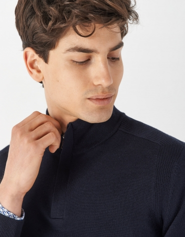 Navy blue sweater with high collar and zipper