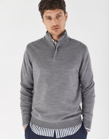 Gray melange sweater with high collar and zipper
