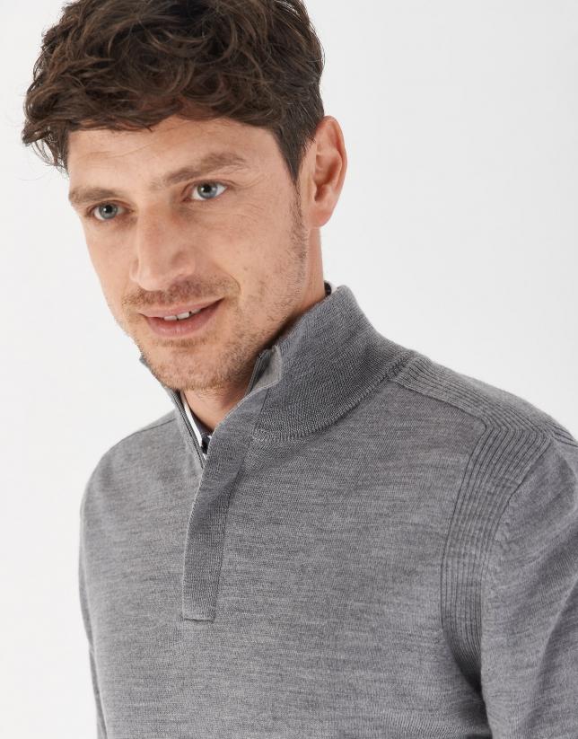 Jersey cuello alto cremallera gris melange