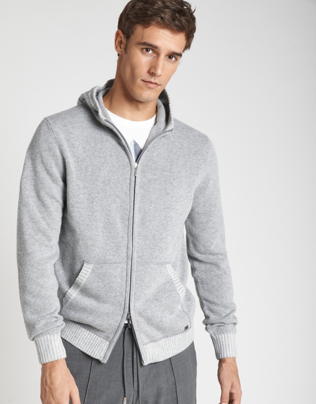 Gray jacket with hood and zipper