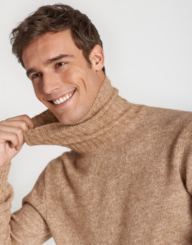 Beige sweater with turned up collar