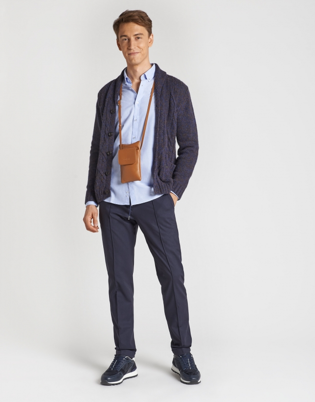 Blue and tan jacket with cable stitching and shawl collar