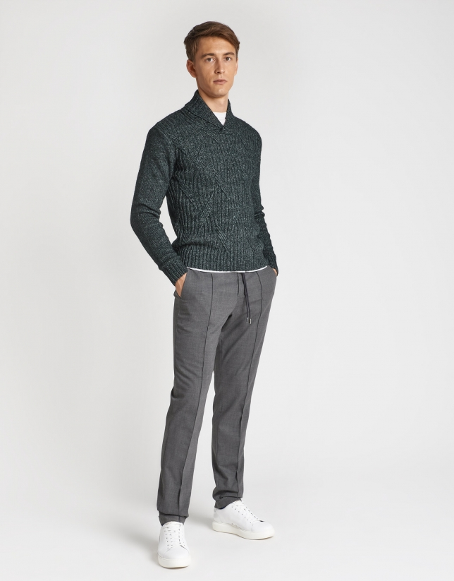 Green sweater with shawl collar