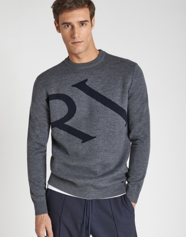 Gray sweater with blue logo and shawl collar