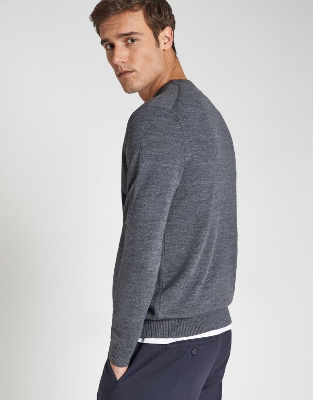 Jersey cuello caja gris con RV marino