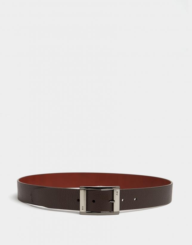 Cinturón piel bicolor avellana/marrón oscuro