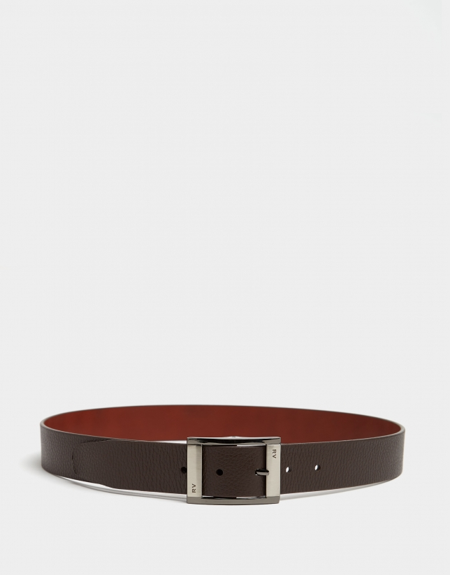 Dark brown and hazelnut leather belt