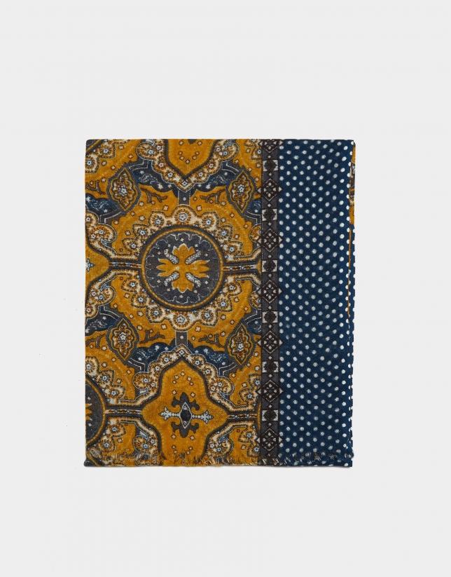 Yellow and indigo blue damascene print foulard