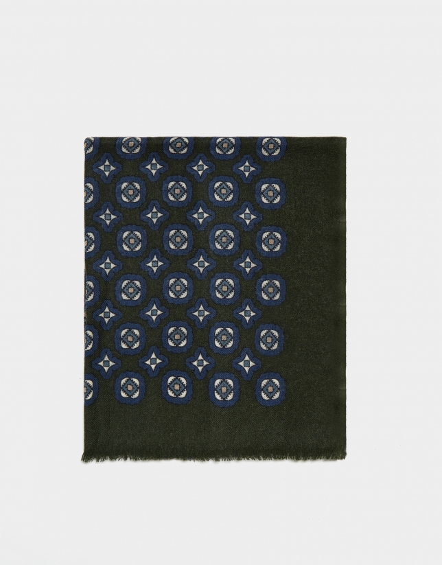 Khaki foulard with beige and indigo blue print