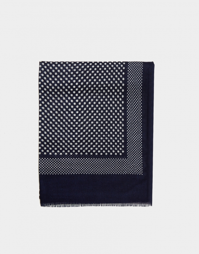 Navy blue foulard with white polka dot print
