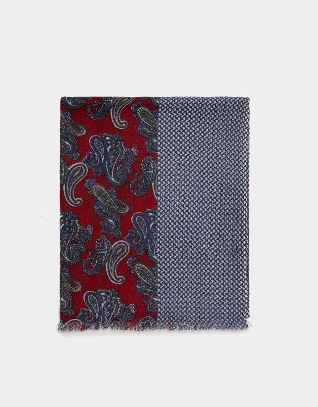 Red foulard with blue dots