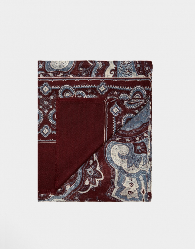 Burgundy foulard with blue and beige damascene print