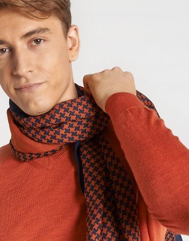 Burnt orange and navy blue houndstooth foulard