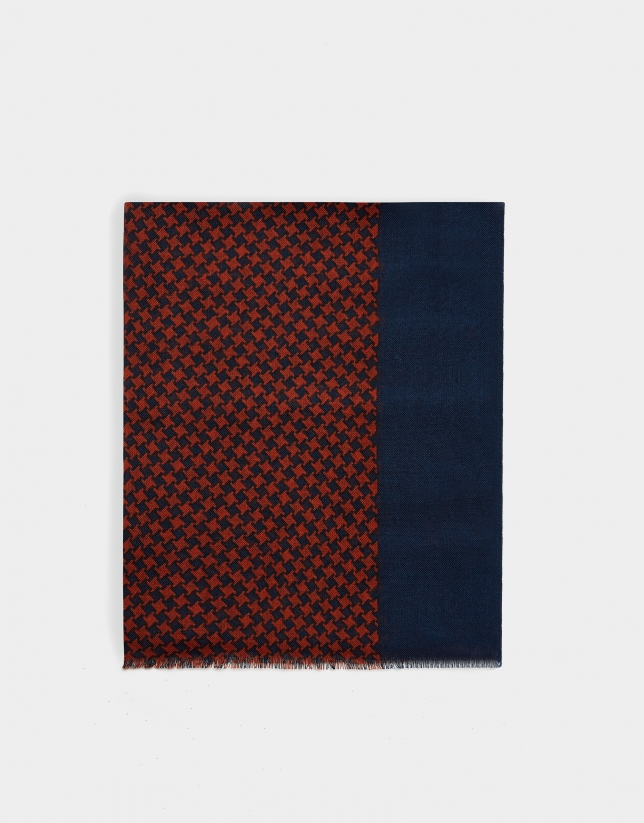 Burnt orange and navy blue houndstooth foulard