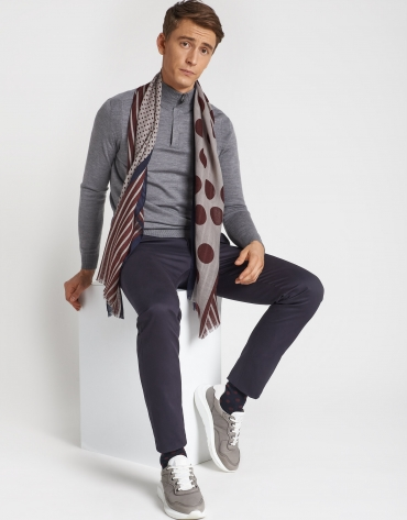 Burgundy and navy blue striped and polka dot foulard