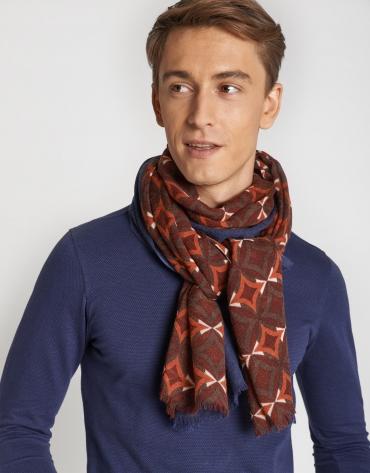 Orange and burgundy geometric print foulard