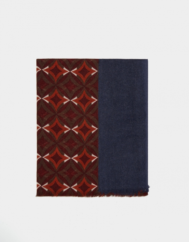 Orange and burgundy geometric print foulard