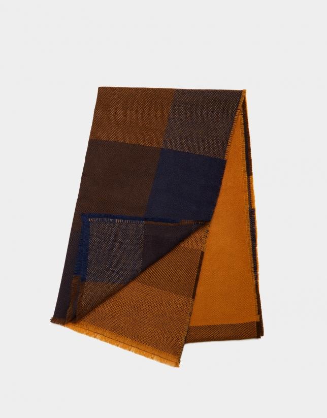 Bufanda cuadros grandes azules/mostaza