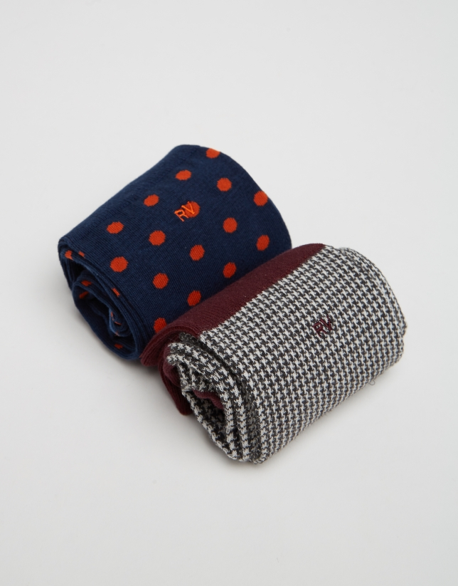 Package of polka dot and houndstooth socks