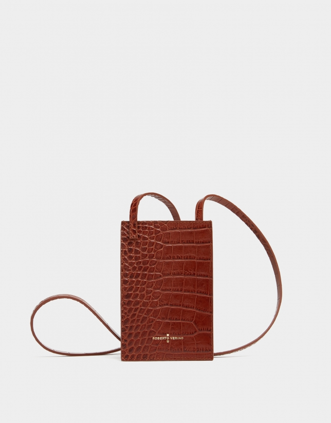 Brown alligator embossed cellphone bag