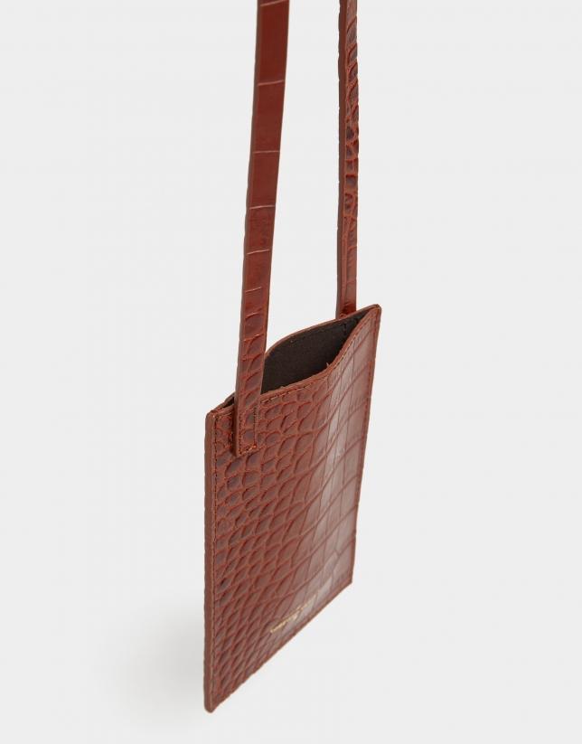 Brown alligator embossed cellphone bag