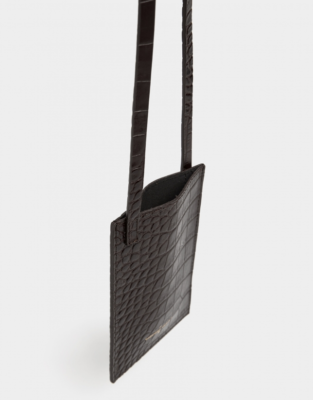 Dark brown alligator embossed cellphone bag