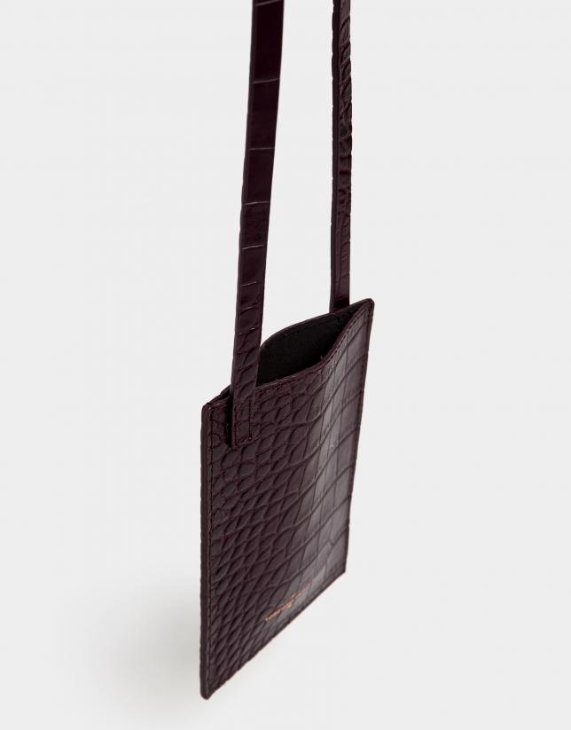 Aubergine alligator embossed cellphone bag