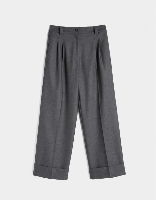 Pantalón ancho de vestir gris
