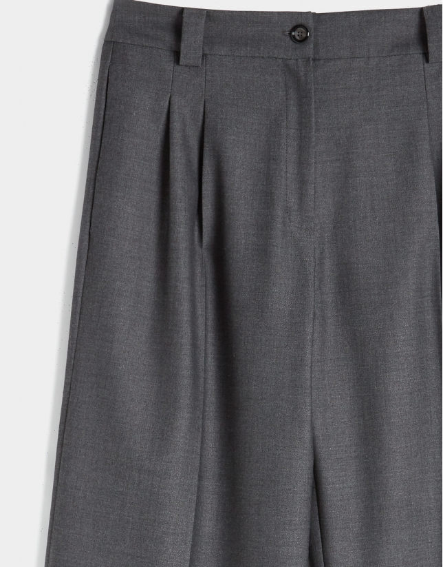 Grey dressy wide pants