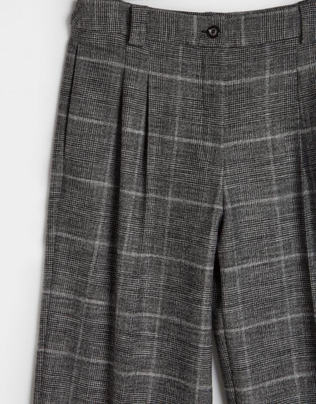 Grey glen plaid dressy wide pants