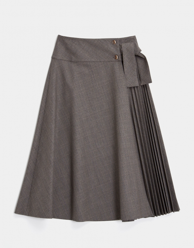 Grey and camel glen plaid skirt