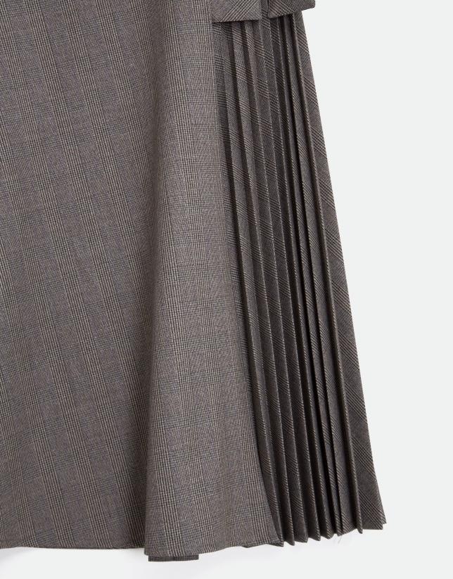 Grey and camel glen plaid skirt