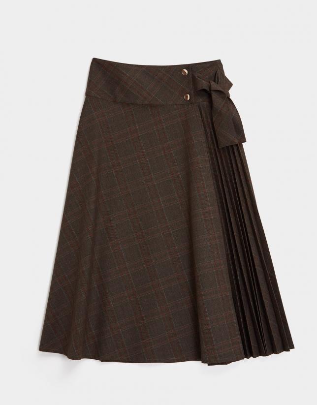 Green and brugundy glen plaid skirt