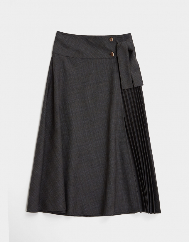 Grey and blue glen plaid skirt