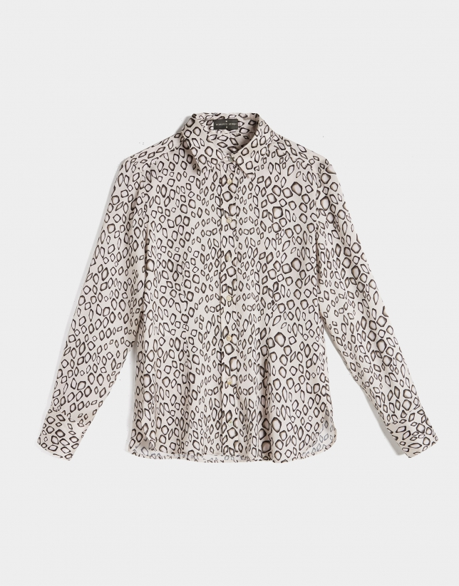 Beige animal print shirt with long sleeves