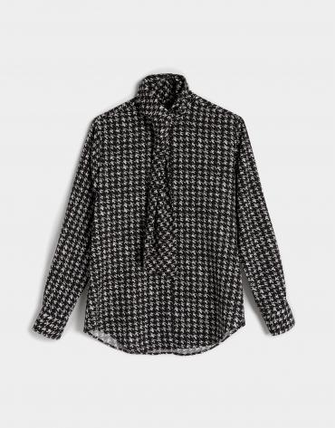 Blue/black print blouse with jabot collar