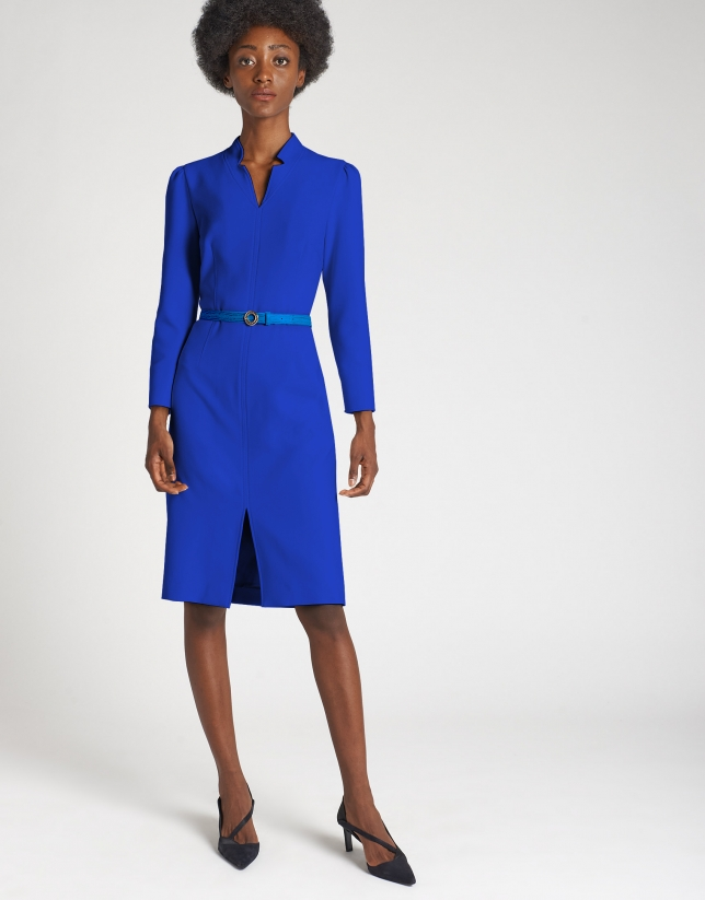 Deep blue shirtwaist dress with belt
