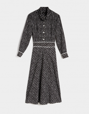 Black and white houndstooth print midi shirtwaist dress